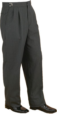 Pleated Pants - Pleated Pin Stripe Grey