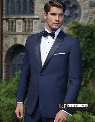 Single Breasted Peak One Button - Blake Royal Blue Black lapel  Slim