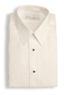 White Lay Down Collar Pleated - Pleated Front