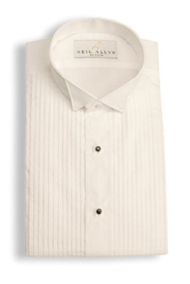 White Wing Collar Pleated - Pleated Front